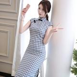 Printed Plaid Blue Midi Linen Cheongsam 1137-70 格子條紋清雅天藍棉麻旗袍