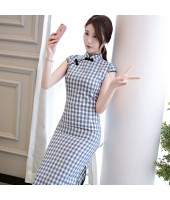 Printed Plaid Blue Midi Linen Cheongsam 1137-70 格子條紋清雅天藍棉麻旗袍