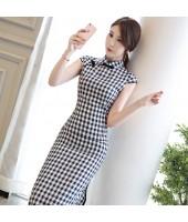 Printed Plaid Sapphire Midi Linen Cheongsam 1137-76 格子條紋清雅寶藍棉麻旗袍