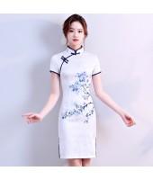 White Elegant Jacquard Cotton QinHuaCi Qipao 2099-01