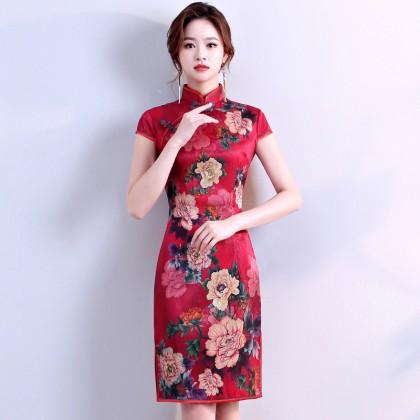 Hangzhou Faux Silk Red Qipao 2098-28 杭州人字紋絲綢紅旗袍