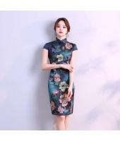 Hangzhou Faux Silk Blue Qipao 2098-76 杭州人字紋絲綢藍旗袍