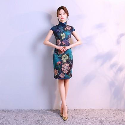 Hangzhou Faux Silk Blue Qipao 2098-76 (Size 3XL) 杭州人字紋絲綢藍旗袍