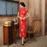 Old Shanghai Brocade Red Maxi Cheongsam 1017-28 老上海典雅織錦緞直襟大紅長旗袍