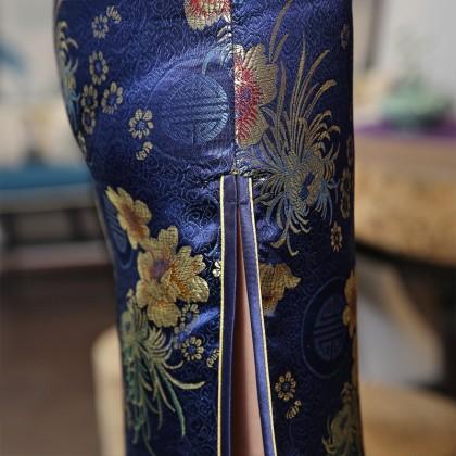Old Shanghai Brocade Navy Maxi Cheongsam 1017-76 (XXL)  老上海典雅織錦緞直襟藏青長旗袍