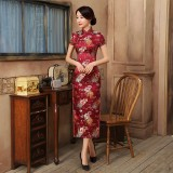 Old Shanghai Brocade Purple Red Maxi Cheongsam 1017-85 (Size 3XL)