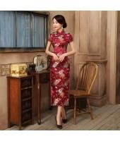 Old Shanghai Brocade Purple Red Maxi Cheongsam 1017-85 老上海典雅織錦緞直襟紫紅長旗袍