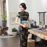 Old Shanghai Brocade Black Maxi Cheongsam 1017-99 老上海典雅織錦緞直襟黑色長旗袍