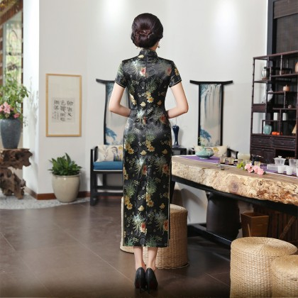 Old Shanghai Brocade Black Maxi Cheongsam 1017-99 (Size XL) 老上海織錦緞黑色長旗袍