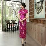 Butterfly Brocade Crimson Cheongsam 1018-27 優雅彩蝶織錦緞玫紅旗袍
