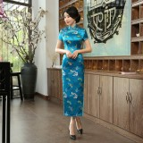Butterfly Brocade Turquoise Cheongsam 1018-74 優雅彩蝶織錦緞湖藍旗袍