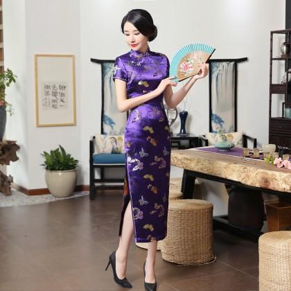 Butterfly Brocade Purple Blue Cheongsam 1018-84 優雅彩蝶織錦緞紫藍旗袍