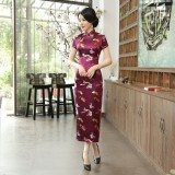 Butterfly Brocade Purple Red Cheongsam 1018-85 優雅彩蝶織錦緞紫紅旗袍