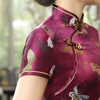 Butterfly Brocade Purple Red Cheongsam 1018-85 優雅彩蝶織錦緞紫紅旗袍