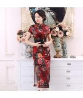 Elegant Silk Maroon Maxi Cheongsam 1019-29 高雅綢緞酒紅長旗袍