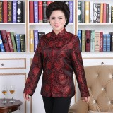 Woman Maroon Elegant Chinese Jacket 4016-29 織錦緞酒紅長袖唐裝