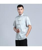Men's Short-sleeved Light Grey Mandarin Shirt 11012-91