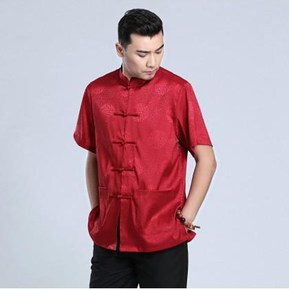 Men's Short-sleeved Maroon Mandarin Shirt 11012-29