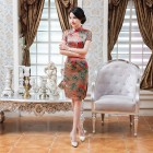 Elegant Faux Silk Peach Qipao 2401-30 仿香雲紗修身優雅桃旗袍