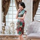 Elegant Faux Green Qipao 2401-50 仿香雲紗修身優雅綠旗袍