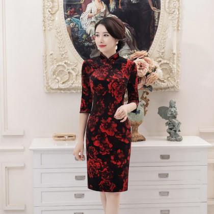 3/4 Sleeves Elegant Velvet Maroon Qipao 2303-29 (3XL) 七分袖高雅金絲絨酒紅旗袍