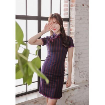 Hangzhou Stretchable Vertical Stripes Navy Qipao 2402-76 (Size M)