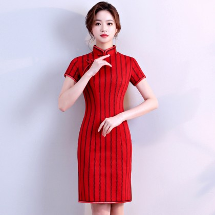 Hangzhou Stretchable Vertical Stripes Red Qipao 2402-28 - Size M