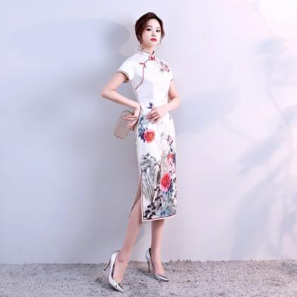 Elegant Faux Silk Off White Midi Cheongsam 1020-01 仿真絲人字紋米白中長旗袍