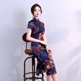 Elegant Vintage Silk Dark Blue Midi Cheongsam 1021-76 杭州雅致復古絲綢藏青中長旗袍