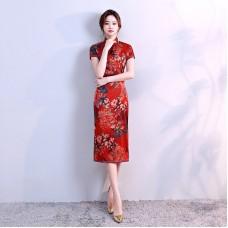 Elegant Vintage Silk Red Midi Cheongsam 1021-28 (Size L) 杭州雅致復古絲綢紅色中長旗袍