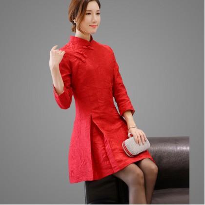 Mid Sleeves Jacquard Red Chinese Dress 3010-26 七分袖提花紅色中式連衣裙