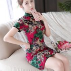 Red Peony Painting Linen Qipao 2126-28 水墨牡丹红色棉麻旗袍