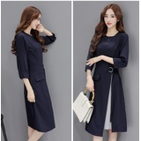 K-Fashion 3/4 Quarter Sleeve Navy OL Dress 3019-76
