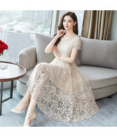 K-Fashion Beige Floral Lace Midi Dress 3020-10