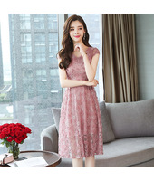 K-Fashion Pink Floral Lace Midi Dress 3020-20