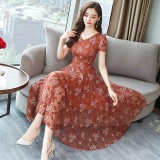 K-Fashion Orange Floral Lace Midi Dress 3020-30