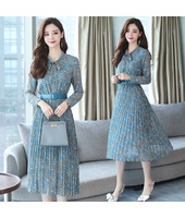 Korean Chiffon Elegant Pleated Midi Dress 3021-71