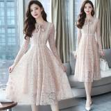 Korean Slim Lady Like Biege Midi Dress 3022-10