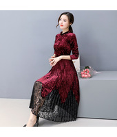 K Fashion Elegant Velvet / Lace Maroon Midi Dress 3023-29