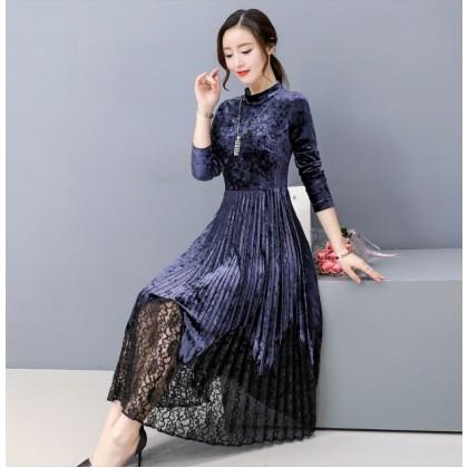 K Fashion Elegant Velvet / Lace Blue Midi Dress 3023-70