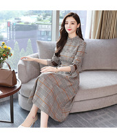 Korean Elegant Long Sleeved Plaid Khaki Midi Dress 3024-11