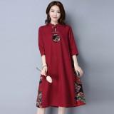 Elegant Linen Maroon Midi Cheongsam Dress 3026-29