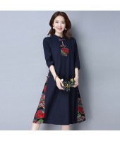 Elegant Linen Navy Midi Cheongsam Dress 3026-76