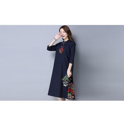 Elegant Linen Navy Midi Cheongsam Dress 3026-76