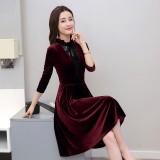 Korean Lotus Leaf Velvet Slim Dress 3025-29