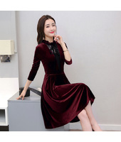 Korean Lotus Leaf Velvet Slim Dress 3025-29