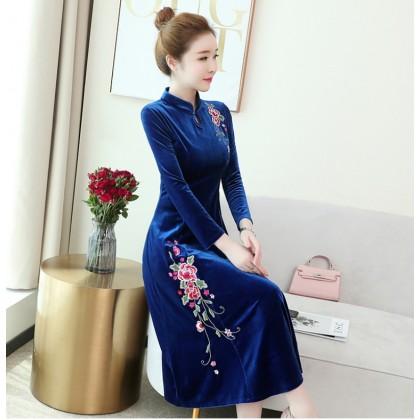 Embroidery Velvet Sapphire Midi Cheongsam Dress 1311-73