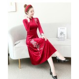 Embroidery Velvet Red Midi Cheongsam Dress 1311-28