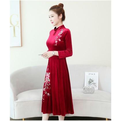 Embroidery Velvet Red Midi Cheongsam Dress 1311-28