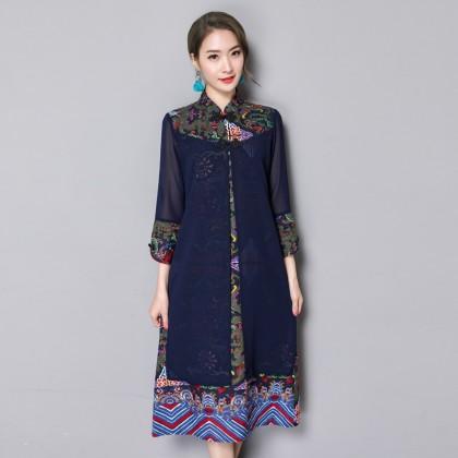Noble Linen Navy Midi Cheongsam Dress 3027-76